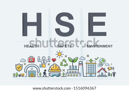 HSE - Health Safety Environment acronym Banner web icon for business and organization. Standard Safe Industrial Work and industrial. Poster design.