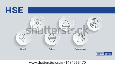 HSE. Health Safety Environment acronym. Vector Illustration concept banner with icons and keywords.