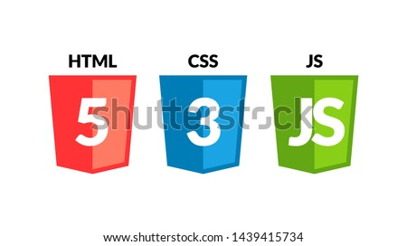 HTML5 CSS3 JS icon set. Web development logo icon set of html, css and javascript, programming symbol.