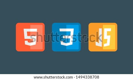 HTML5 CSS3 JS icon set. Web development logo icon set of html, css and javascript, programming symbol.