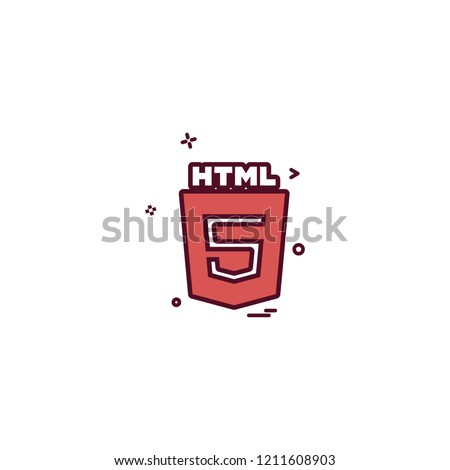 HTML 5 icon design vector