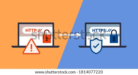 HTTP and HTTPS protocols, safe web surfing and data encryption Foto stock ©