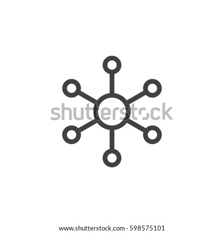 Hub and spoke line icon, outline vector sign, linear style pictogram isolated on white. Central database symbol, logo illustration. Pixel perfect