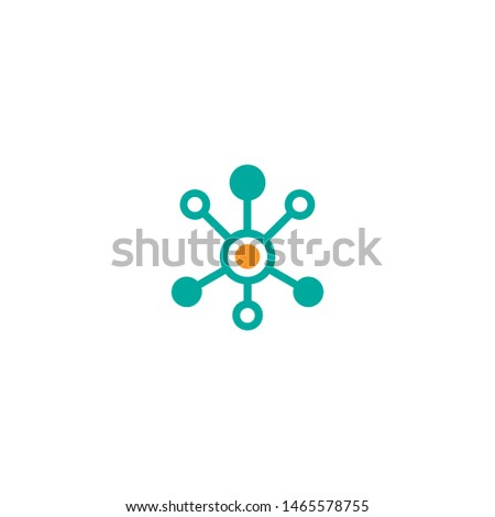 Hub network connection line icon isolated on white. Tech or technology logo. Server or central database button.  Connected groups.