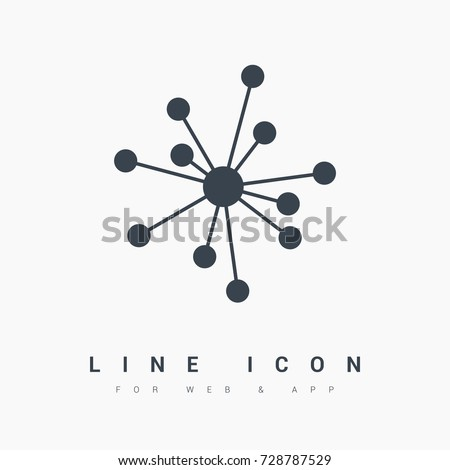 Hub network connection line vector icon