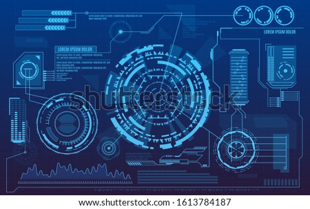 Hud dashboard. Futuristic user interface with digital infographics and data charts vector electronic scifi hologram concept