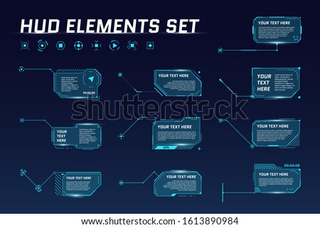 HUD digital futuristic callout title set. Call out sci fi frame bar labels. Presentation or infographic modern digital info box layout templates. Interface HUD UI GUI element. Vector illustration