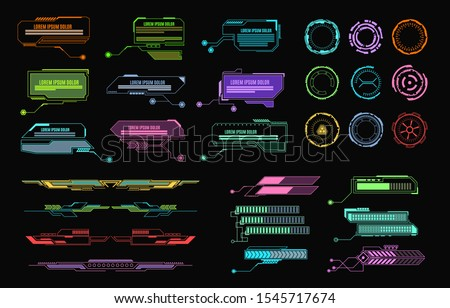 Hud elements. Futuristic callout bar, modern digital info boxes layout. Call bars gadget game app interface vector isolated infographics communication display set