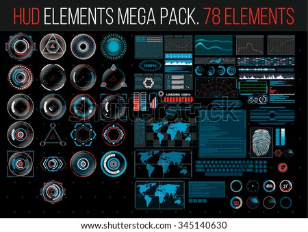 HUD Elements Mega Pack. 78 Elements. Sci Fi Futuristic User Interface. Menu Button. Vector Illustration.