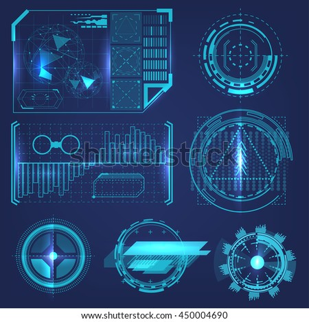 HUD elements of high technology infographic. Futuristic design concepts. Scientific HUD background.