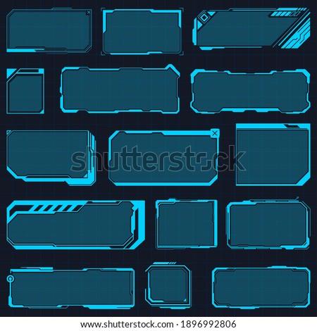 Hud frames. Digital futuristic hud interface panels, hologram high tech screen, modern interface window vector illustration set. Futuristic hologram frames. Display sci fi boxes for game Foto stock ©