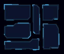 Hud frames. Futuristic modern user interface elements, hud control panel. High tech screen digital hologram window, gaming menu vector touching cyber monitoring set