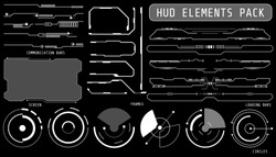 HUD Futuristic Elements Set By Communication And Loading Bars Screen Circles Frames Include For Game User Interface Or App Vector Background