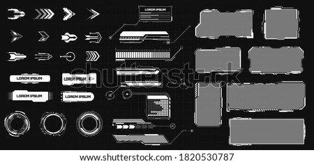 HUD futuristic elements set with call outs communication and Arrow bars include frame. Set of Sci Fi Modern User Interface Elements.  Callout bar labels, digital info boxes vector illustration