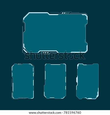 HUD futuristic user interface screen elements set. Abstract control panel layout design. Vector illustration sci fi virtual tech display