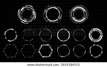 HUD futuristic white element. Set of Circle Abstract Digital Technology UI Futuristic. Abstract circle geometric shape. Design element. Explosion background. Flat design. Vector illustration