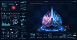HUD, GUI, FUI dashboard element ui medical examination. Display set of virtual interface elements. Covid-19. Human lungs. Low poly wireframe and points. Diagrams, pie chart infographics. Vector