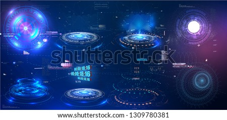 HUD GUI  futuristic element. Set of Circle Abstract Digital Technology UI Futuristic HUD Virtual Interface Elements Sci- Fi Modern User For Graphic Motion