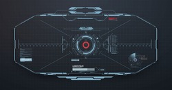 HUD, GUI Modern Aiming System with Device tilt level. Futuristic VR Head-up display design. Spaceship, drone, helmet, crosshair, aim. Techno target screen element. VR design for video games. Vector