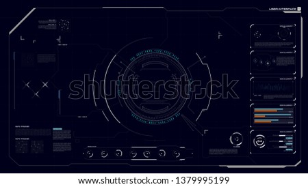 HUD GUI UI user interface Cyber technology futuristic for Virtual Reality Technology Screen design with graph bar circle percentage element vector illustration