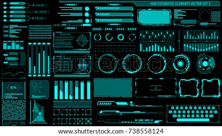 HUD Hologram Futuristic Elements Set Vector. Abstract Virtual Graphic For User Interface Control Panel Illustration.