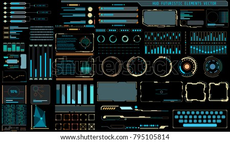 HUD Hologram Futuristic Elements Set Vector. Multi Color Abstract Virtual Graphic For User Interface Control Panel Illustration.