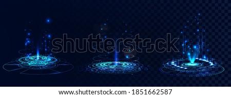 HUD holograms - portal for GUI, UI, APP design. Sky-fi vector set digital technology. Circle magic teleport podium. Hi-tech hologram with light and lights. VR projector, portal, podium. Vector set