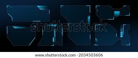 HUD Interface Screen Design Frame. HUD UI GUI futuristic user interface screen. Sci-fi vector design Photo stock ©
