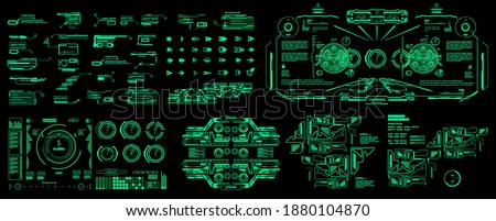 HUD set cyber elements pack. Futuristic virtual graphic touch user interface. Dashboard display virtual reality technology screen. Vector elements pack Zdjęcia stock ©