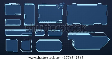 HUD set frames. Futuristic modern user interface elements, hud control panel. High tech screen for video game. Sci-fi concept design. Information call box bars and modern digital info boxes layout