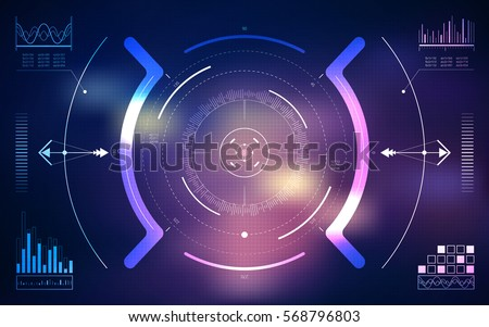 HUD UI and infographic elements. Sci-fi futuristic user interface. Technology background. Spaceship hightech screen concept. Vector illustration