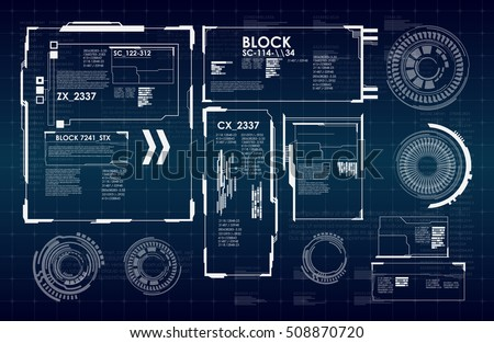 HUD UI for business app. Futuristic user interface HUD and Infographic elements. Abstract virtual graphic touch user interface. UI hud infographic interface screen monitor radar set web elements