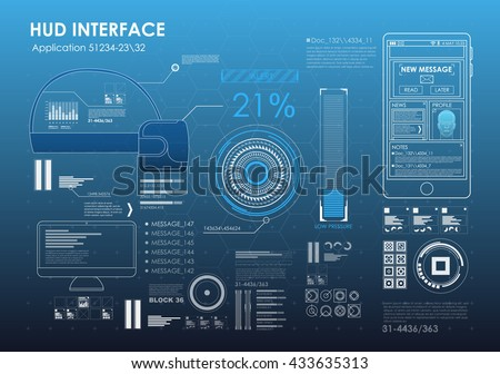 HUD UI for phone app. Futuristic user interface. Virtual graphic touch user interface. UI hud infographic interface screen monitor set web elements.
