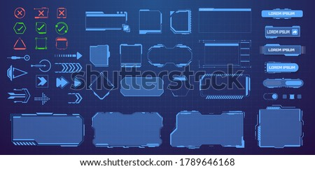HUD, UI, GUI,fui, Sci Fi  futuristic frame user interface screen elements mega set pack. Control panel for game apps. Callout bar labels, digital info boxes, buttons. Interface elements game. Vector