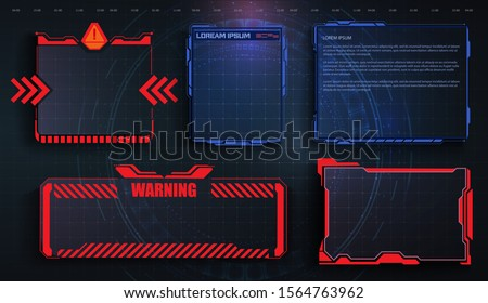 HUD, UI, GUI futuristic frame user interface screen elements set. Set with call outs communication. Futuristic User Interface. Hi-tech callout bar labels, digital templates. Vector callout titles