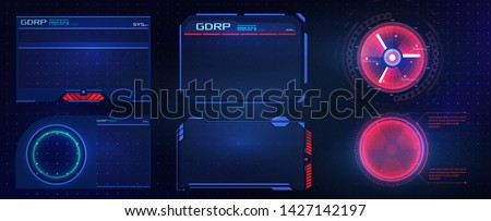 HUD UI GUI futuristic user interface screen elements set. High tech screen for video game. Sci-fi concept design. Vector abstract graphic design.Warning frame. Abstract tech design. Technology design
