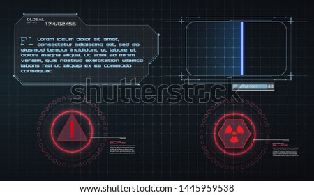 HUD UI GUI futuristic user interface screen elements set. High tech screen for video game. Sci-fi concept design. Scanning frame. Warning frame. Future virtual tech display. Vector illustration