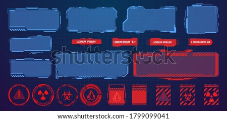 HUD, UI, GUI futuristic user interface screen elements set. High tech screen for video game. Sci-fi design. Callouts titles. Modern banners, frames of lower third. Red warning, danger frame. Vector