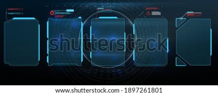 HUD, UI, GUI futuristic user interface screen elements set. High tech screen for video game. Sci-fi concept design.  Virtual hi Scifi HUD, UI, GUI futuristic user frame interface screen elements set.