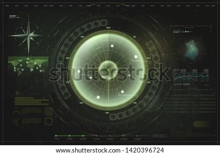 HUD, UI, GUI green interface element radar. Target detection on the radar screen.Blip. Futuristic design elements. Vector illustration ストックフォト ©