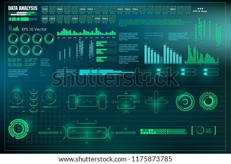 HUD user interface. Data analysis, visualization futuristic infographic information, visual datatrade map, diagrams virtual interface