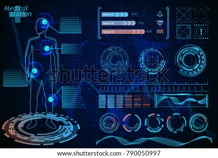 Hud vector infographics futuristic interface. Medicine element background. Healthcare scientific abstract background