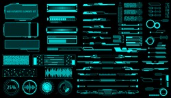 HUD Virtual Futuristic Elements Set Vector. Green Object Abstract Graphic For User Interface Control Panel Game Apps Illustration.