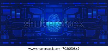 HUD Visualization Interface Control Panel Vector Background. Abstract Fingerprint Scanning Element Illustration Dashboard Template.