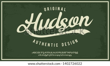 Hudsone. Hand made script typeface. Vintage brush script. Retro vector illustration. Print for clothes.