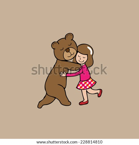 hug girl and brown bear cartoon
