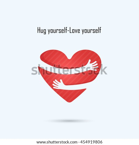 Shutterstock Hug yourself logo.Love yourself logo.Love and Heart Care logo.Heart shape and healthcare & medical concept.Vector illustration