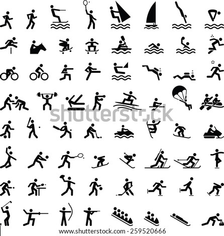 Huge assortment of people playing various summer and winter sports. Vector icons for digital and print projects.