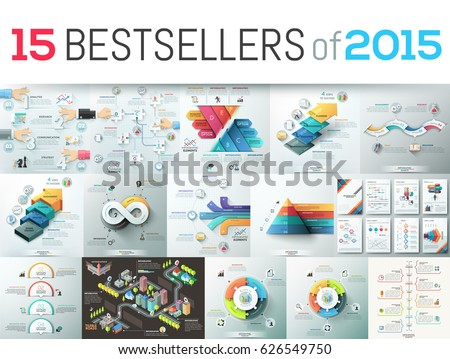 Huge collection of 15 creative infographic business design templates, bestsellers of 2015, elements for graphs, diagrams, schemes. Vector illustration for website, report, presentation, brochure.