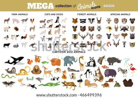 Huge collection of funny cartoon animals, birds, pets, farm, and sea creatures. African, arctic, tropical wild animals. Vector avatars and flat icons animals isolated on white background.